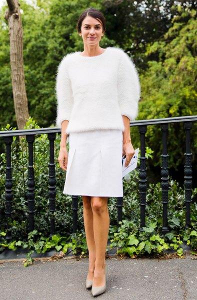 fuzzy sweater white knee length straight cut skirt
