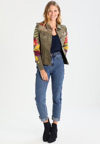 green embroidered denim jacket with high rise cuffed jeans