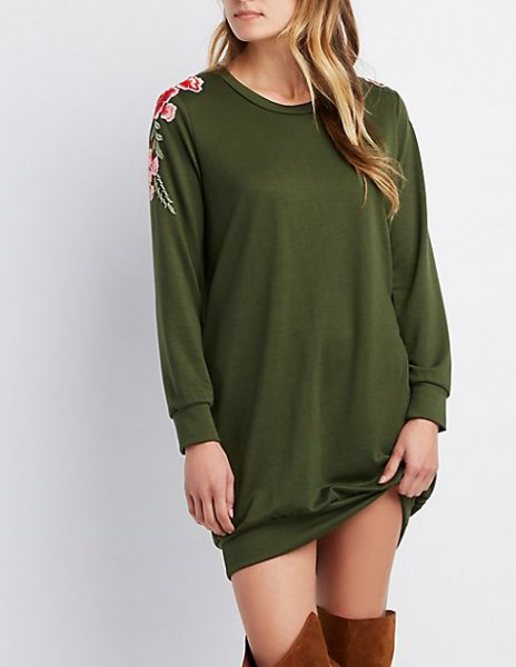 green embroidered sweatshirt dress with over the knee boots