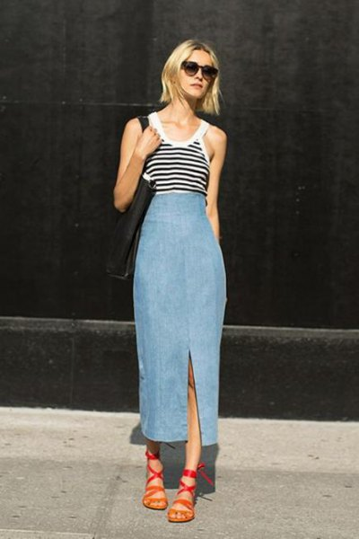 grey and black striped vest top with unwashed denim skirt