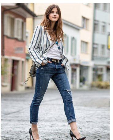 grey and white vertical striped blazer white tee cuffed jeans