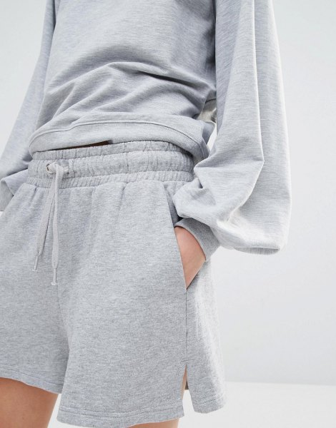 grey jogger shorts crew neck sweatshirt