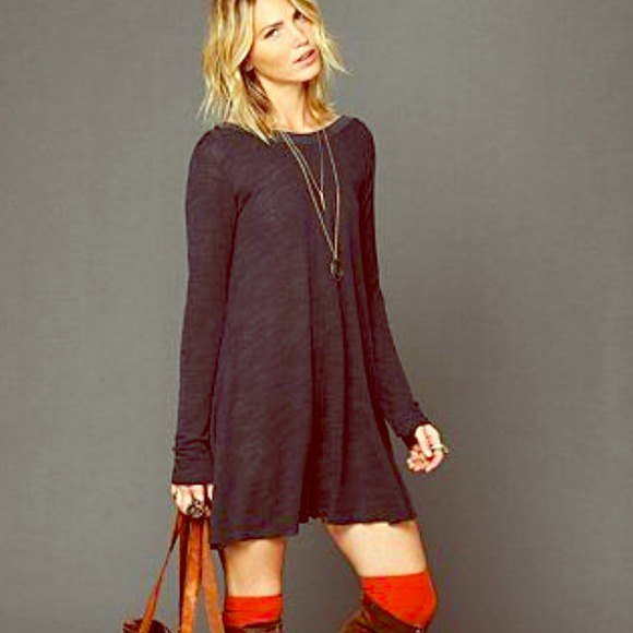 grey long sleeve swing dress with brown suede knee high boots