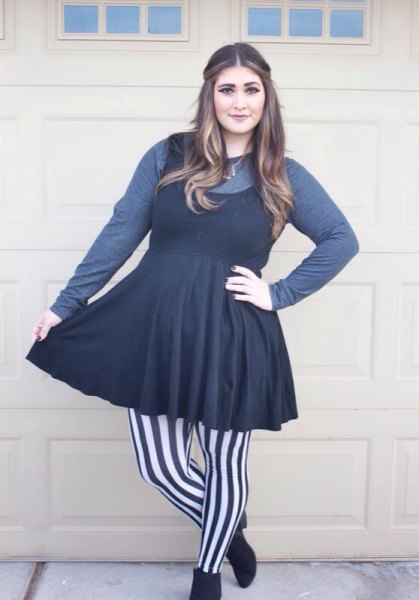 grey long sleeve tee black fit and flare mini dress
