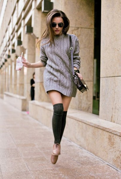 grey mini knitted dress with thigh high socks