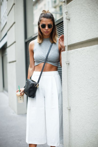 grey sleeveless crop top with white culottes