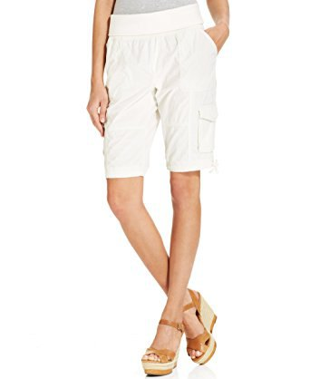 grey t shirt white knee length cargo shorts