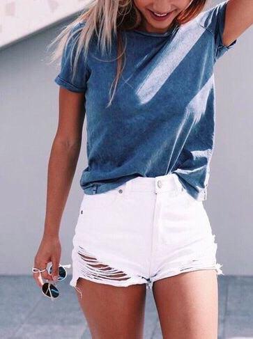 grey t shirt white ripped mini denim shorts
