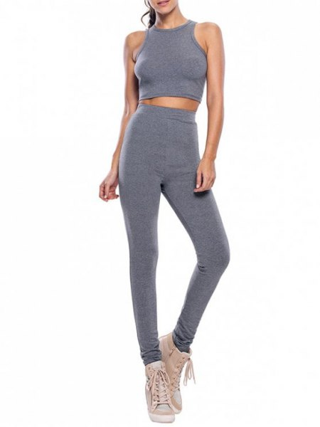 grey two piece set with crop top jogger pants