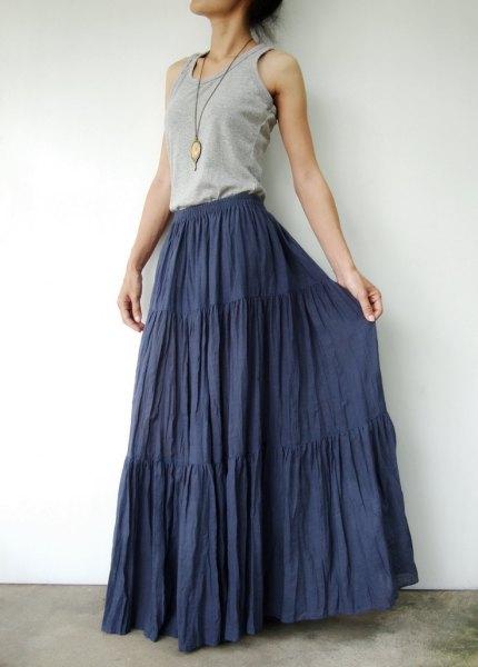 grey vest top navy floor length peasant skirt