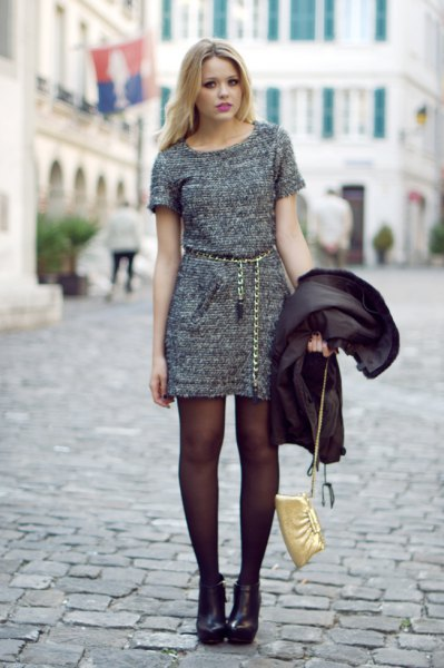 heather grey mini dress with gold chain belt and boots