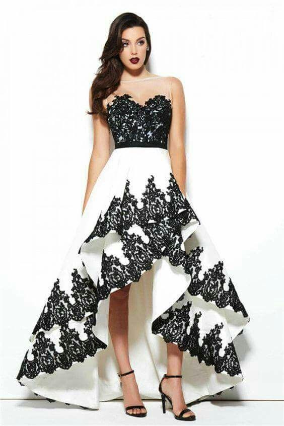 high low prom dress black white