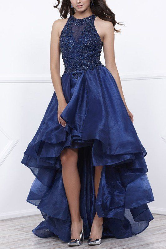 high low prom dress royal blue