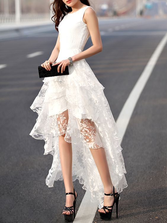 high low prom dress white lace