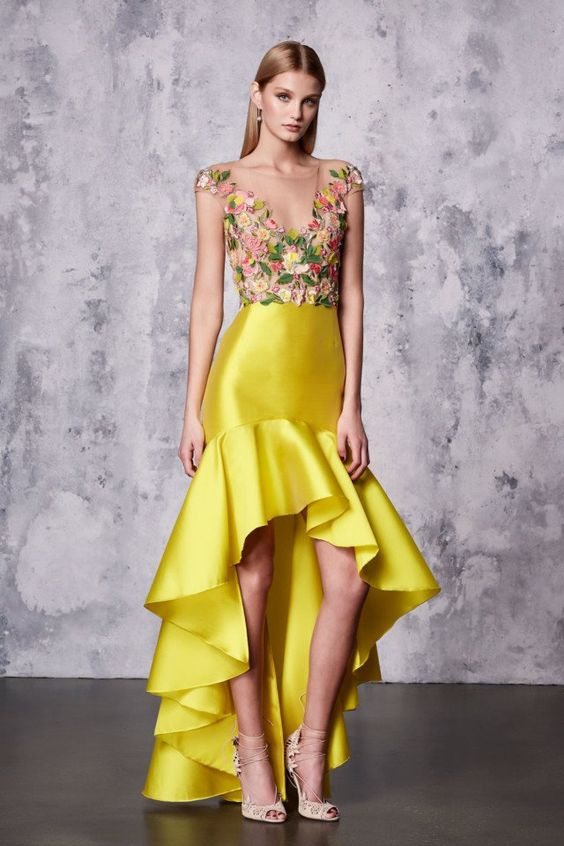 high low prom dress yellow floral