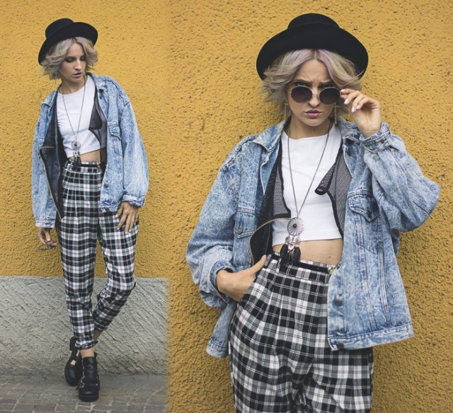 high waisted checkered pants white crop top denim jacket