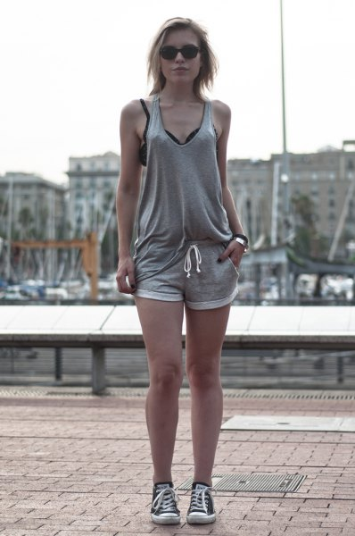 jogger shorts grey jersey suit sneakers
