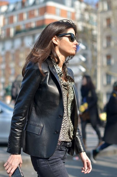 leather blazer with leopard print button up blouse