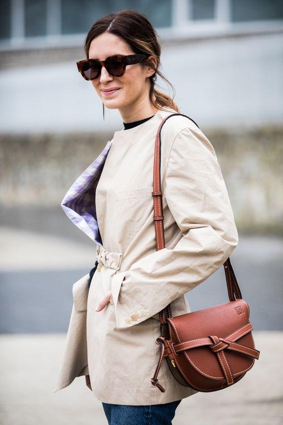 leather shoulder bag brown classy