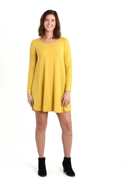 lemon yellow long sleeve swing dress with boots