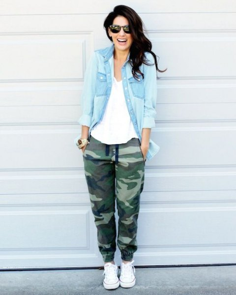 light blue chambray shirt camo twill jogger pants
