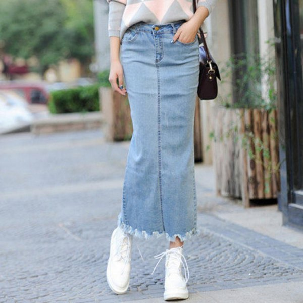 light blue maxi denim skirt with grey and white patterned knit sweater