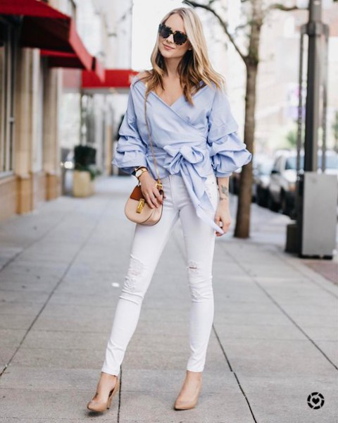 light blue tie waist wrap blouse with white skinny jeans