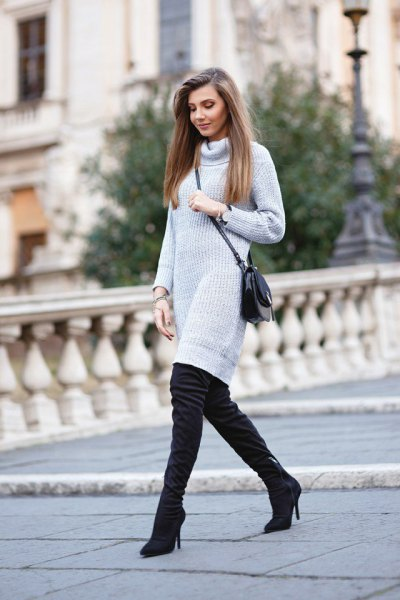 light grey turtleneck ribbed knitted dress with thigh high boots