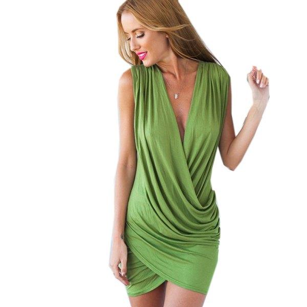 lime green low cut bandage mini dress