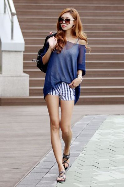 mini striped shorts with white camisole blue off shoulder semi sheer sweater