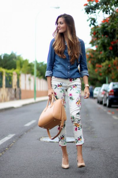 chambray shirt with white floral pants