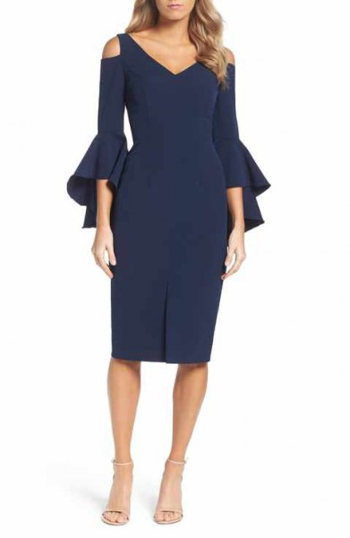 navy bell sleeve cold shoulder midi dress