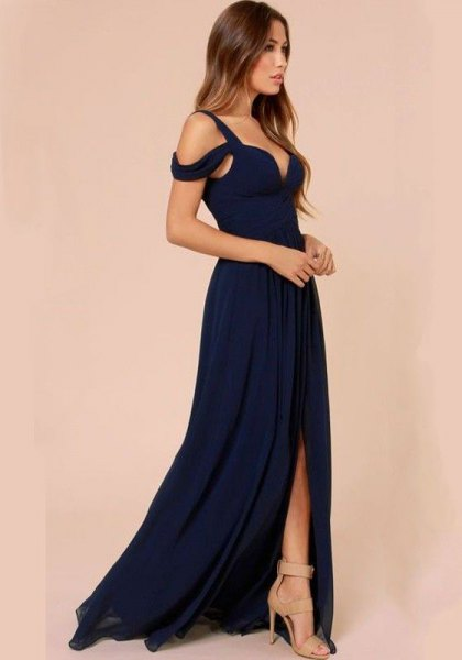 navy cold shoulder high split floor length dress