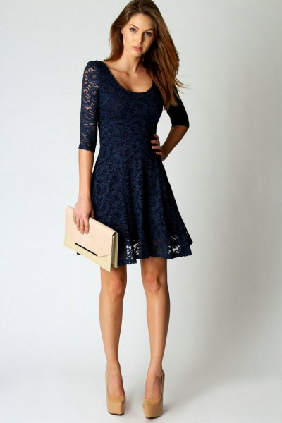 navy half sleeve lace mini flared party dress
