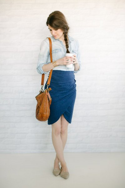 navy tulip skirt with chambray shirt