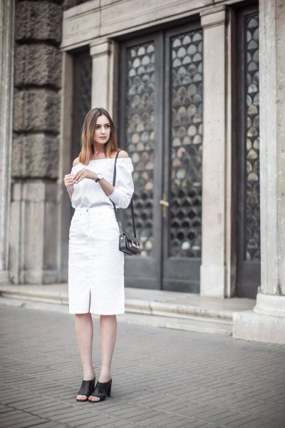 off the shoulder blouse with white midi denim skirt