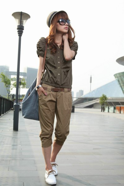 olive button up puff shoulder shift army green cropped twill pants