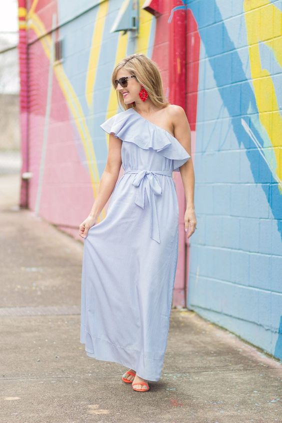 one shoulder maxi dress baby blue red