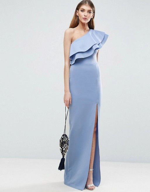 one shoulder maxi dress baby blue