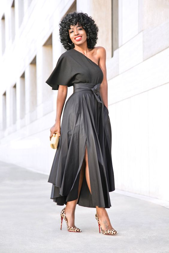 one shoulder maxi dress black