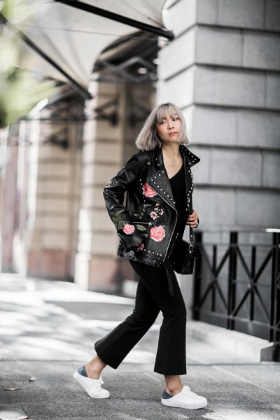 oversized jacket black flared pants