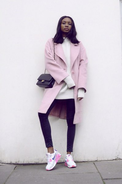 pale pink long wool coat white mock neck knit sweater dress