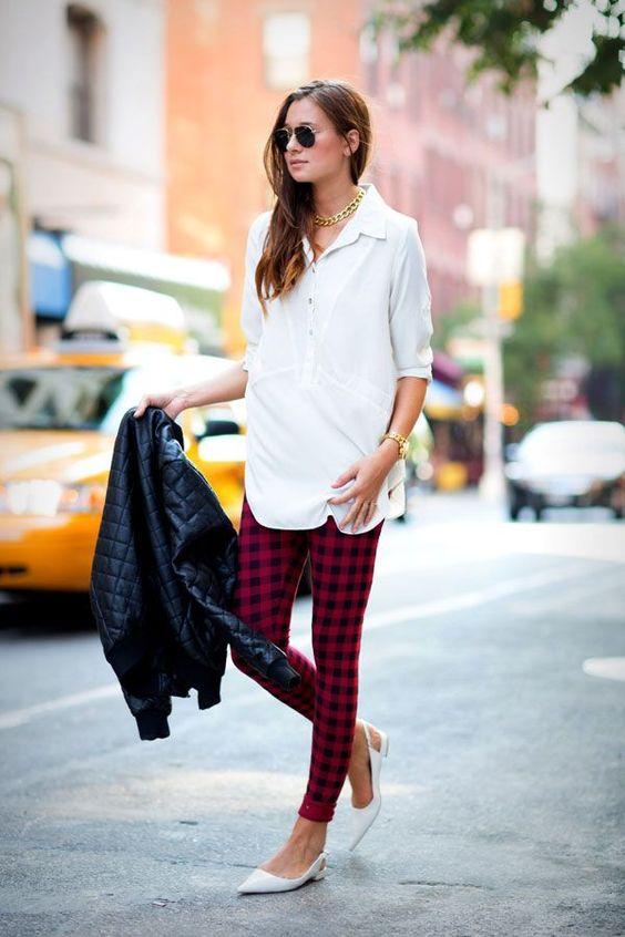plaid leggings white button down