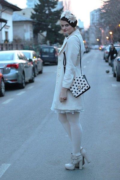 polka dot purse white wool coat pleated dress