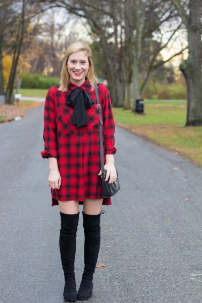 red and black flannel shirt dress with ribbon bow