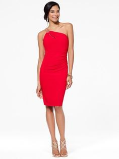 red bodycon midi dress with single silver strap