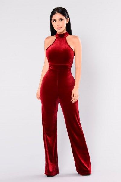 red halter neck velvet wide leg jumpsuit