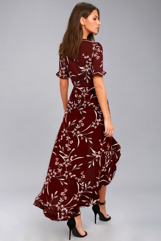 red high low dress floral maxi