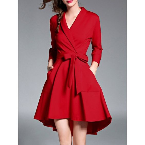 red high low dress retro