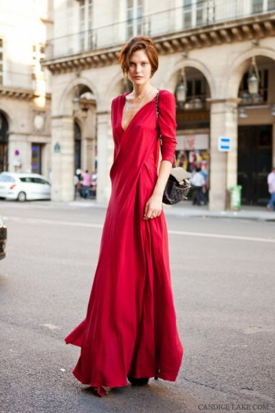 red three quarter sleeve low cut floor length wrap dress
